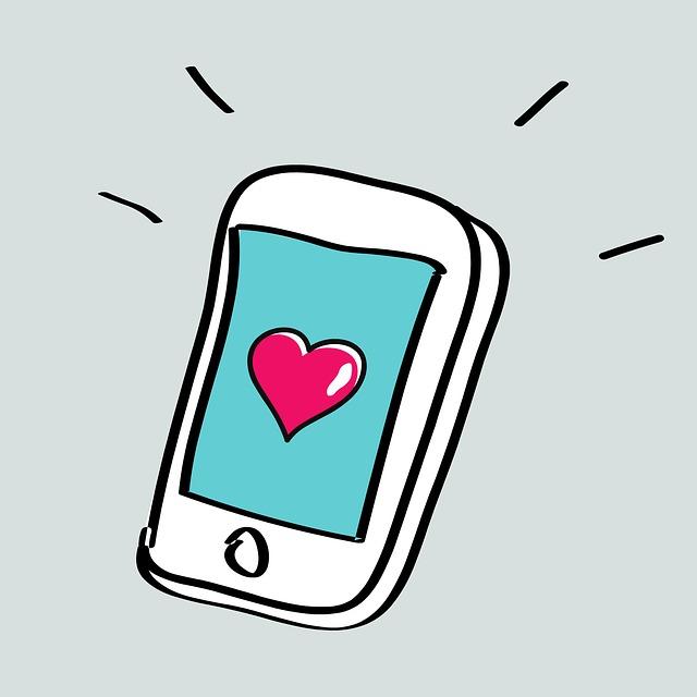 chytrý telefon, volání – ilustrace, srdce